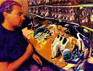 Nils Krook tweaking pedals to get the best CILICE ORCHESTRA rhytm sounds.