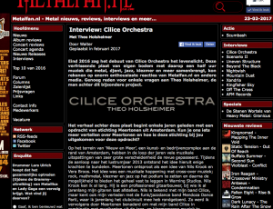 Interview met Metalfan.nl over CILICE ORCHESTRA, het album, het componeren, de crossover.